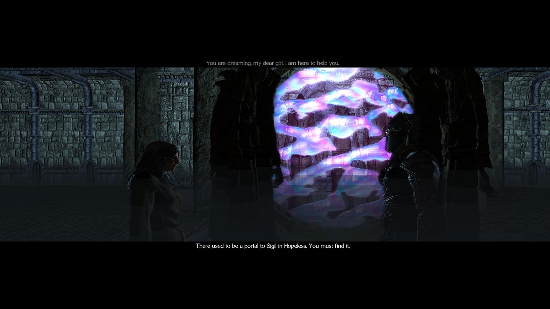 """purgatorio Un portale per Sigil - screenshot dal modulo """"Planescape: Purgatorio, Outlands"""" NWN2 module - Planescape: Purgatorio, espansione Outlands (2006-2012) © Atari, Rogue Dao Studios"""