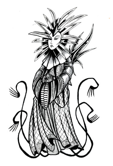 "tristram-evans ""Lady of Pain"" D&D Doodle - by Tristram Evans facebook group ""Black and White Tabletop Role Playing Games Illustration"" (2019-12) © dell'autore, tutti i diritti riservati"
