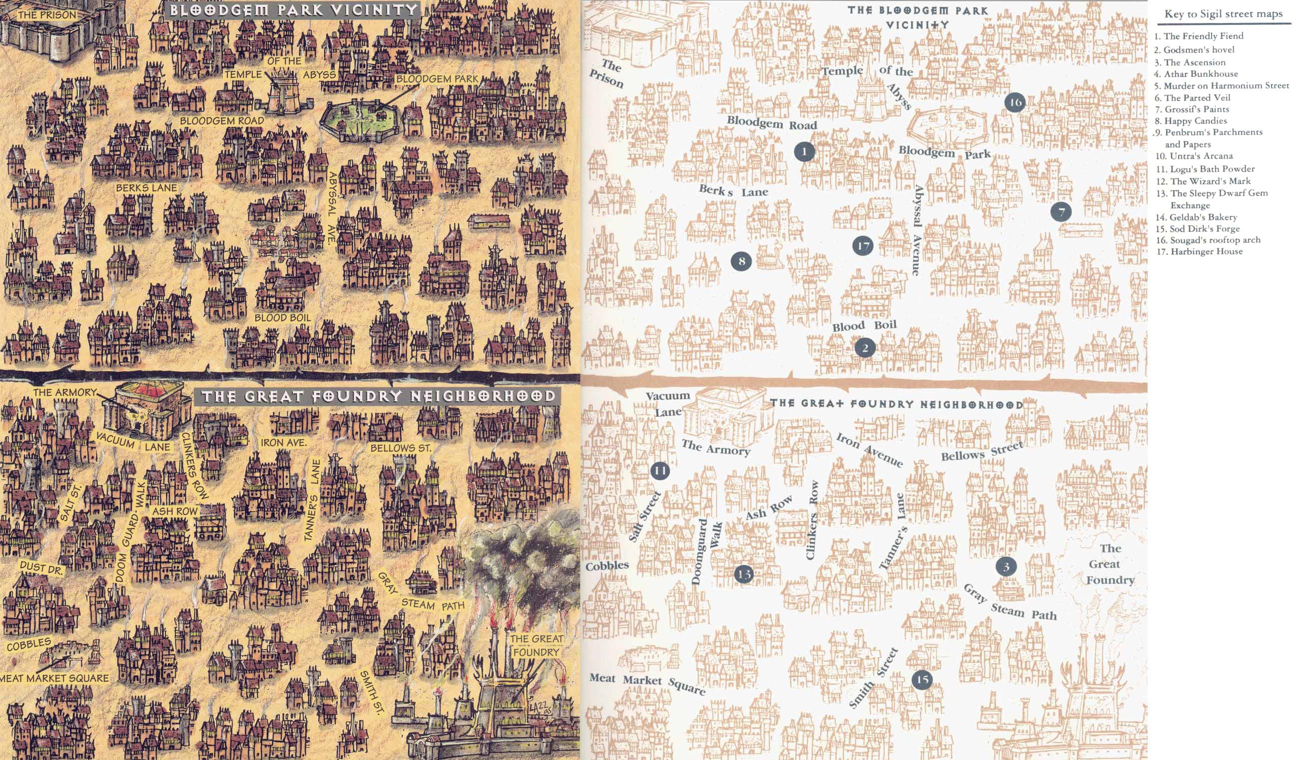 sigil streets map Mappe dei dintorni della Fonderia e del parco Gemma di Sangue - by Rob Lazzaretti TSR - Harbinger House (1995-07) © Wizards of the Coast & Hasbro