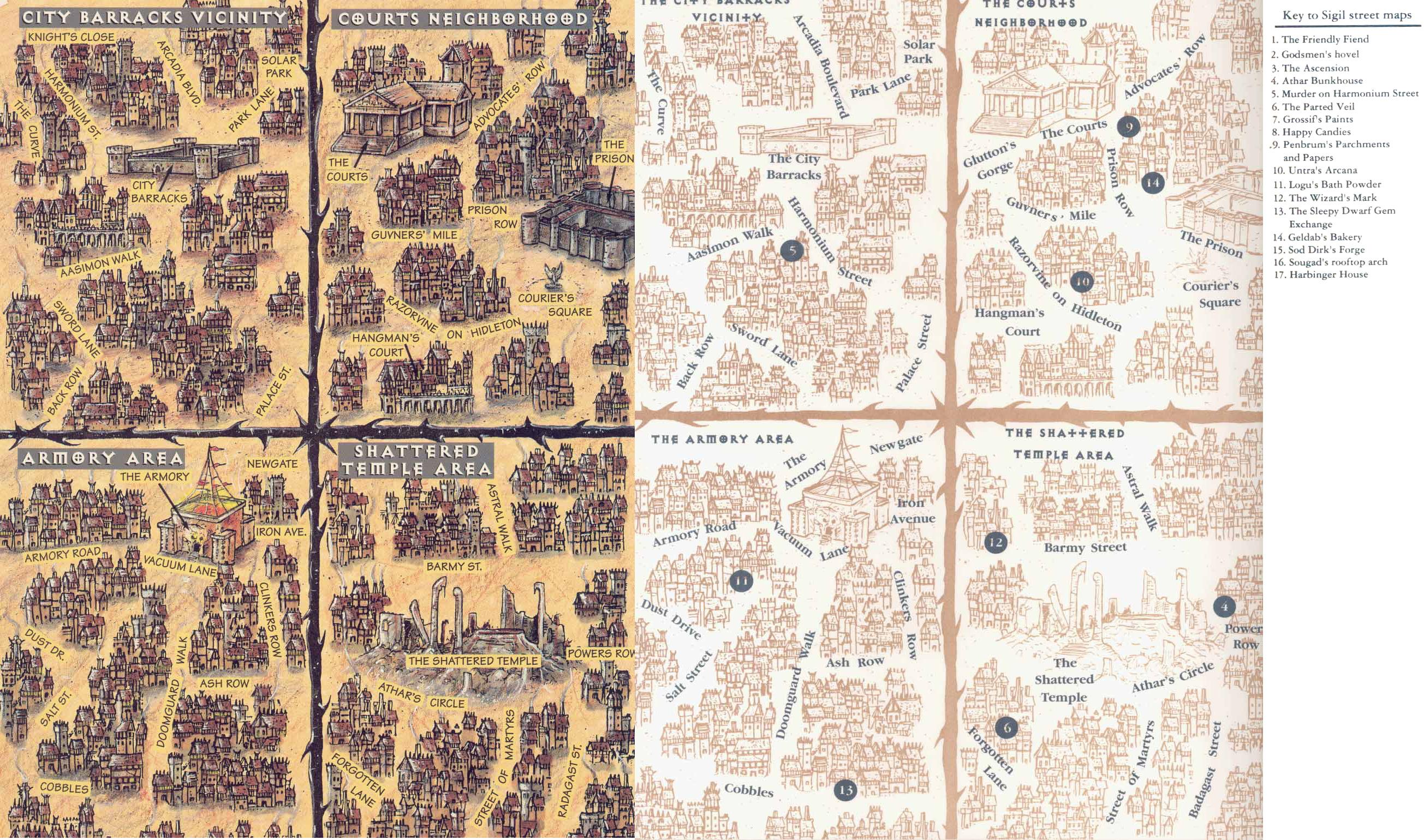 sigil streets map Mappe dei dintorni di Caserme, Armeria, Corti e del Tempio Infranto - by Rob Lazzaretti TSR - Harbinger House (1995-07) © Wizards of the Coast & Hasbro