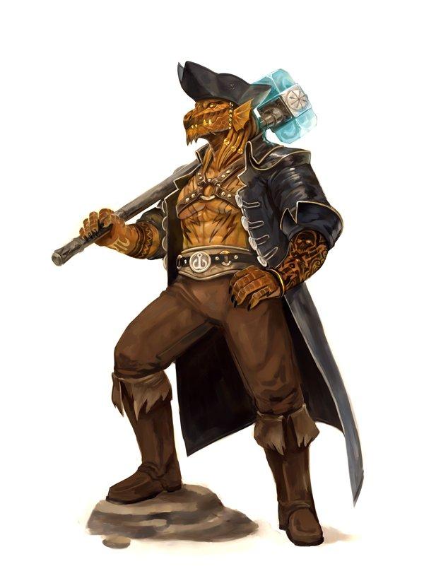 stephen-wood Pirata dragonide, commissione - by Stephen Wood twitter.com/stevethegoblin (2018-04) © dell'autore, tutti i diritti riservati