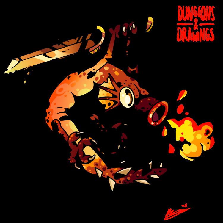 "dungeonsanddrawings ""Firenewt"" - by Blanca Martinez de Rituerto dungeonsanddrawings.blogspot.com (2018-03) © dell'autore tutti i diritti riservati"