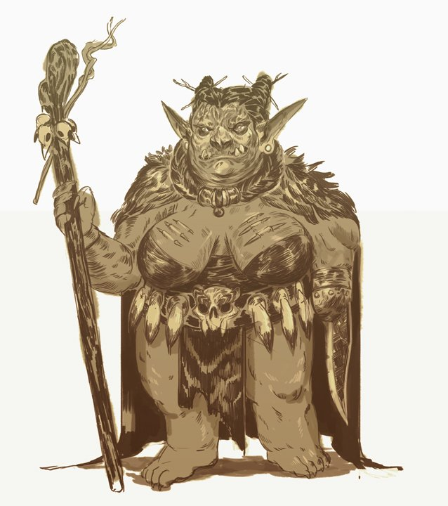 stephen-wood Goblin sciamano, schizzo - by Stephen Wood twitter.com/stevethegoblin (2018-04) © dell'autore, tutti i diritti riservati