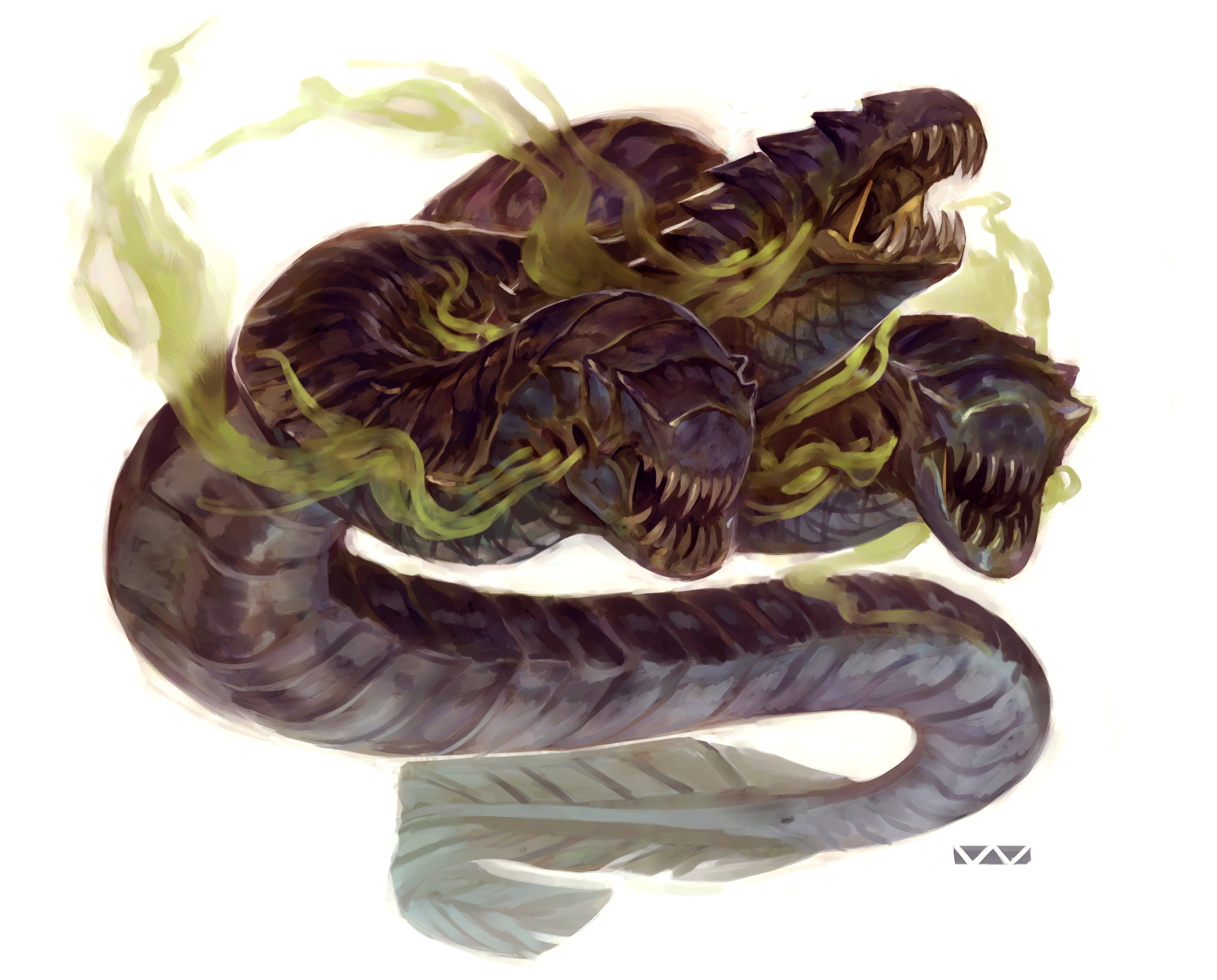 """stephen-wood """"Gorgon Eel"""" - by Stephen Wood Dungeon Master's Guild """"Angler: a Ranger's Path"""" (2018-02) © Wizards of the Coast e dell'autore, tutti i diritti riservati"""