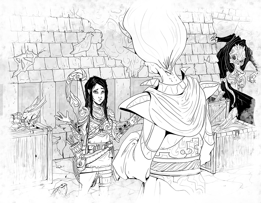 Planescape Torment Enhanced Edition unused Concept - Dabus, adventurer, lim-lim, illithid by Madolin Bee (2017)