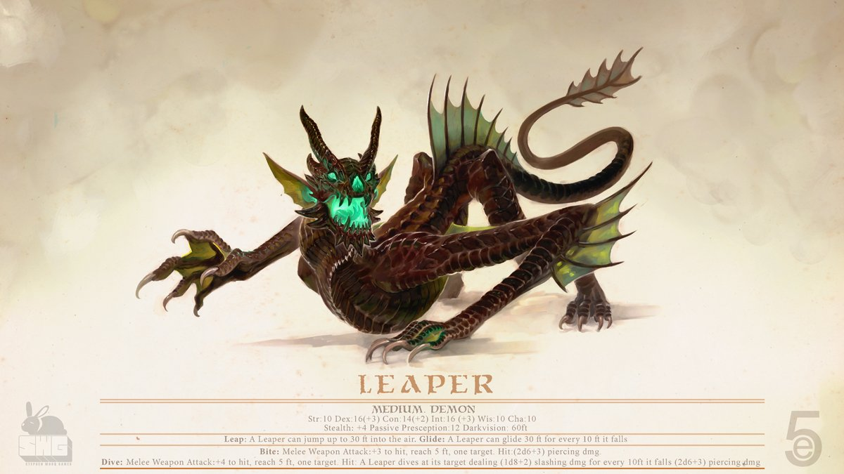 stephen-wood Leaper Demon - by Stephen Wood twitter.com/stevethegoblin (2018-12) © dell'autore, tutti i diritti riservati
