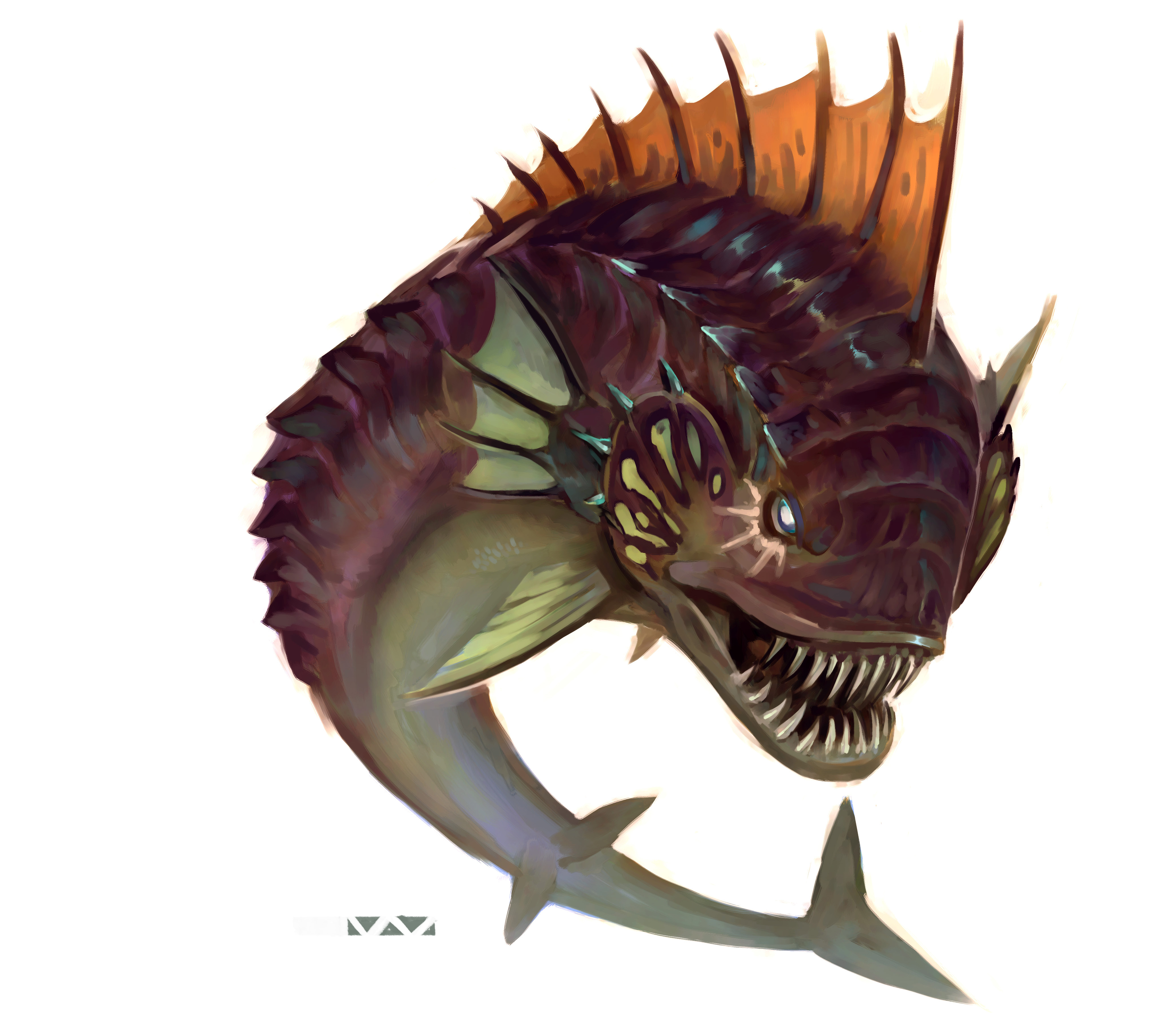 """stephen-wood """"Lune Eater"""" - by Stephen Wood Dungeon Master's Guild """"Angler: a Ranger's Path"""" (2018-02) © Wizards of the Coast e dell'autore, tutti i diritti riservati"""