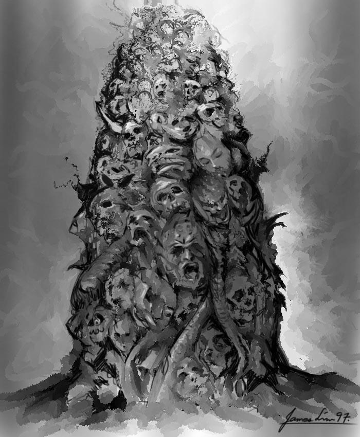Planescape Torment Concept - Pillar of Skulls sketch by James Lim (1999)