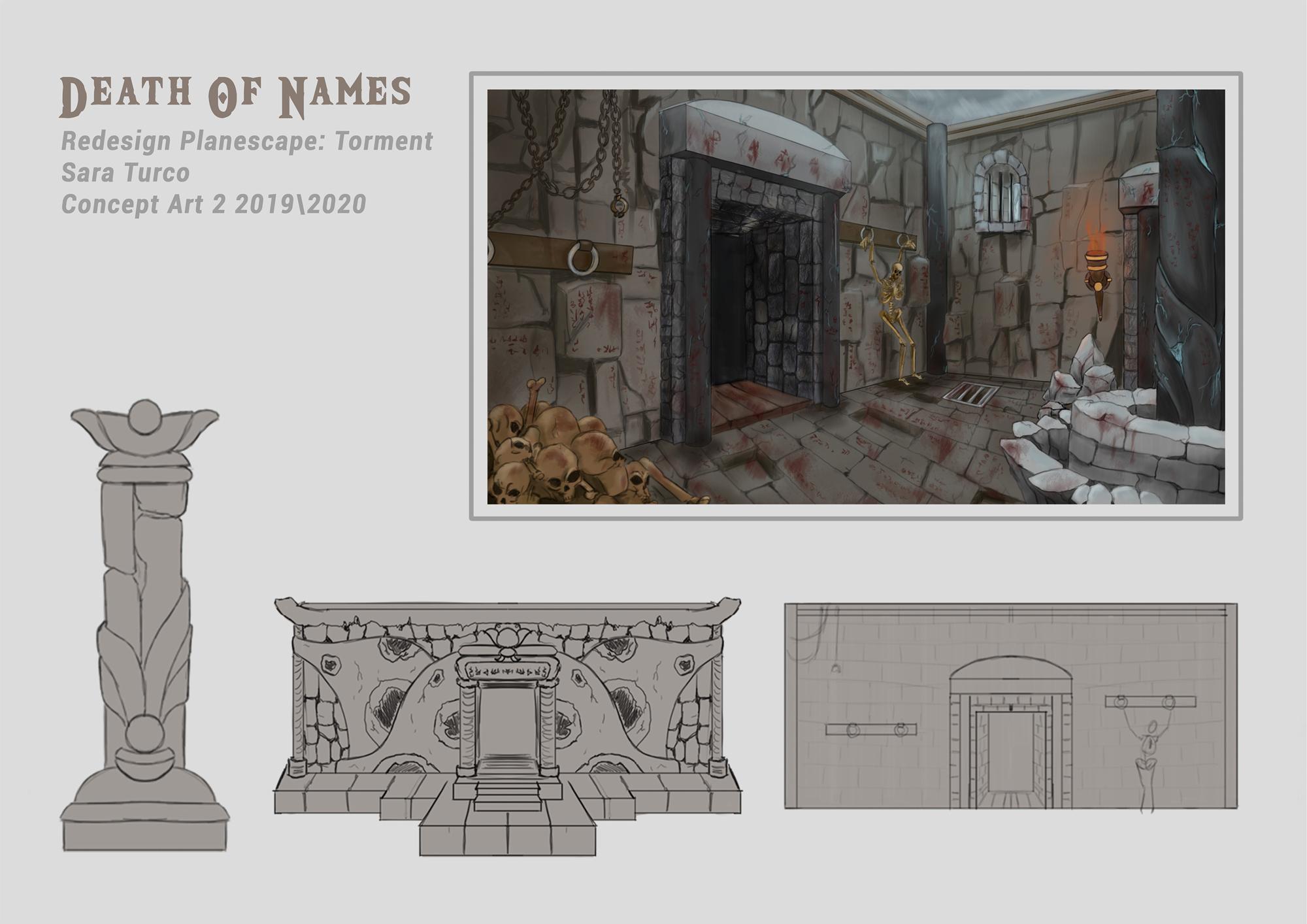 """{$tags} Concept ambiente, """"Death of Names"""", il monumento funerario - by Sara Turco Planescape Torment Redesign Project (2020) © Scuola Internazionale di Comics Torino e dell'autore, tutti i diritti riservati"""