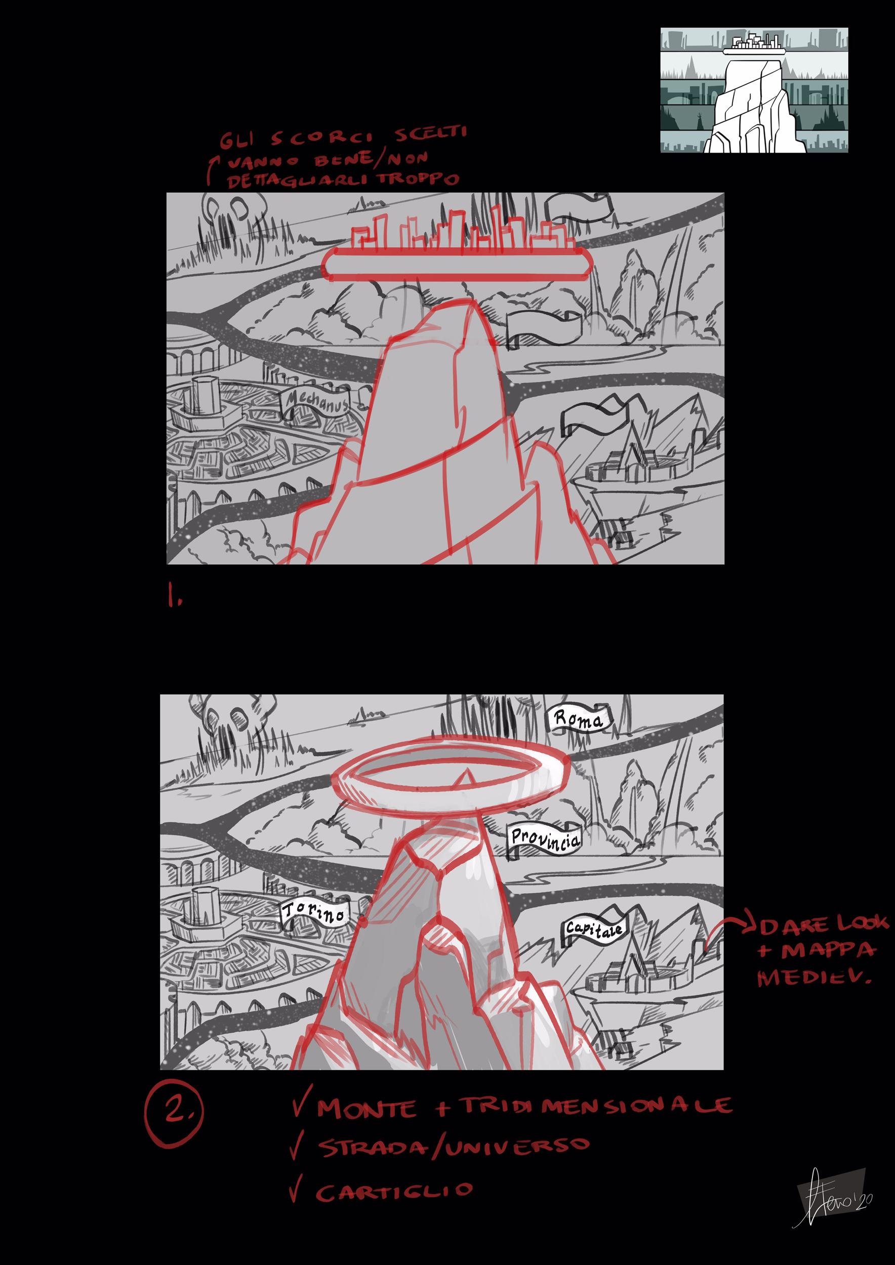 gnagneterno Poster promozionale (Sigil e i Piani Esterni) studio 02 - by Agnese Eterno Planescape Torment Redesign Project (2020) © Scuola Internazionale di Comics Torino e dell'autore, tutti i diritti riservati