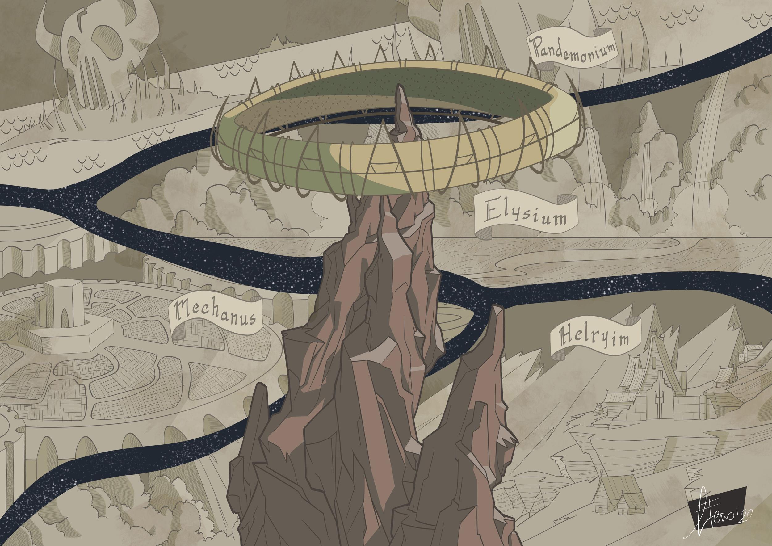 gnagneterno Poster promozionale (Sigil e i Piani Esterni) studio 04 - by Agnese Eterno Planescape Torment Redesign Project (2020) © Scuola Internazionale di Comics Torino e dell'autore, tutti i diritti riservati