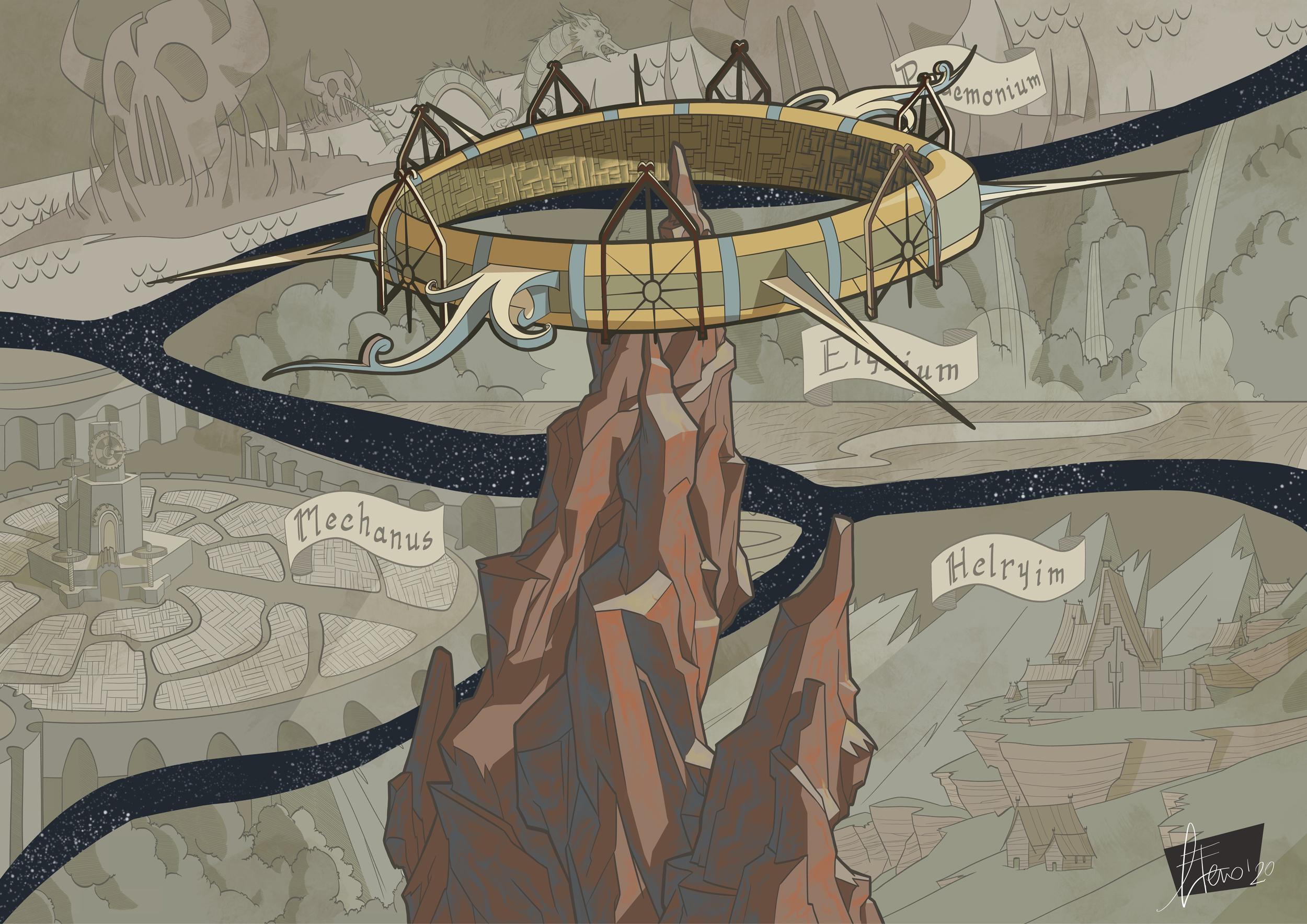 gnagneterno Poster promozionale (Sigil e i Piani Esterni) definitivo - by Agnese Eterno Planescape Torment Redesign Project (2020) © Scuola Internazionale di Comics Torino e dell'autore, tutti i diritti riservati