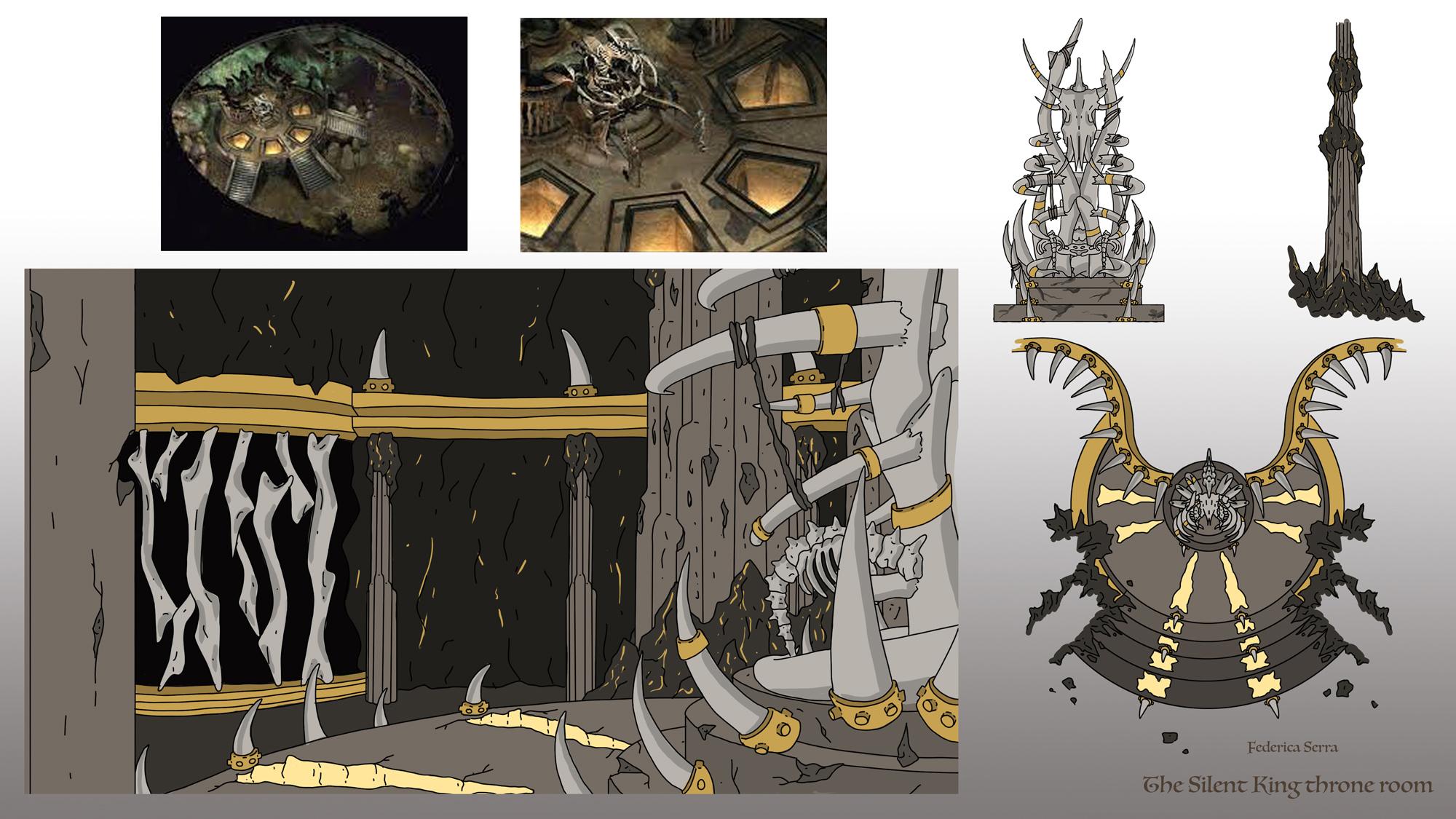 {$tags} Concept ambiente, Silent King's Throne Room (props e studi) - by Federica Serra Planescape Torment Redesign Project (2020) © Scuola Internazionale di Comics Torino e dell'autore, tutti i diritti riservati