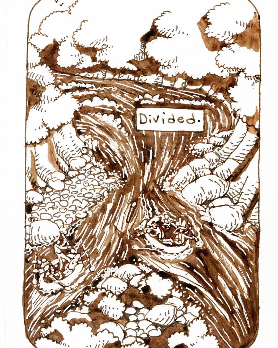 """redjarojam """"Divided"""", Inktober 02 - by Jared DeCosta (redjarojam) www.instagram.com/redjarojam (2017-10) © dell'autore tutti i diritti riservati"""