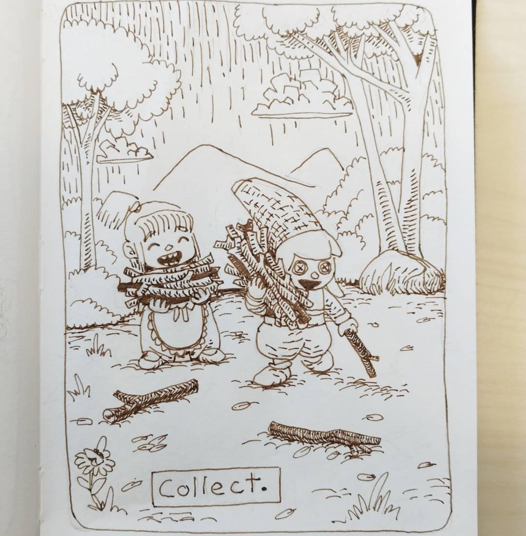 "redjarojam ""Collect"", Inktober 03 - by Jared DeCosta (redjarojam) www.instagram.com/redjarojam (2016-10) © dell'autore tutti i diritti riservati"