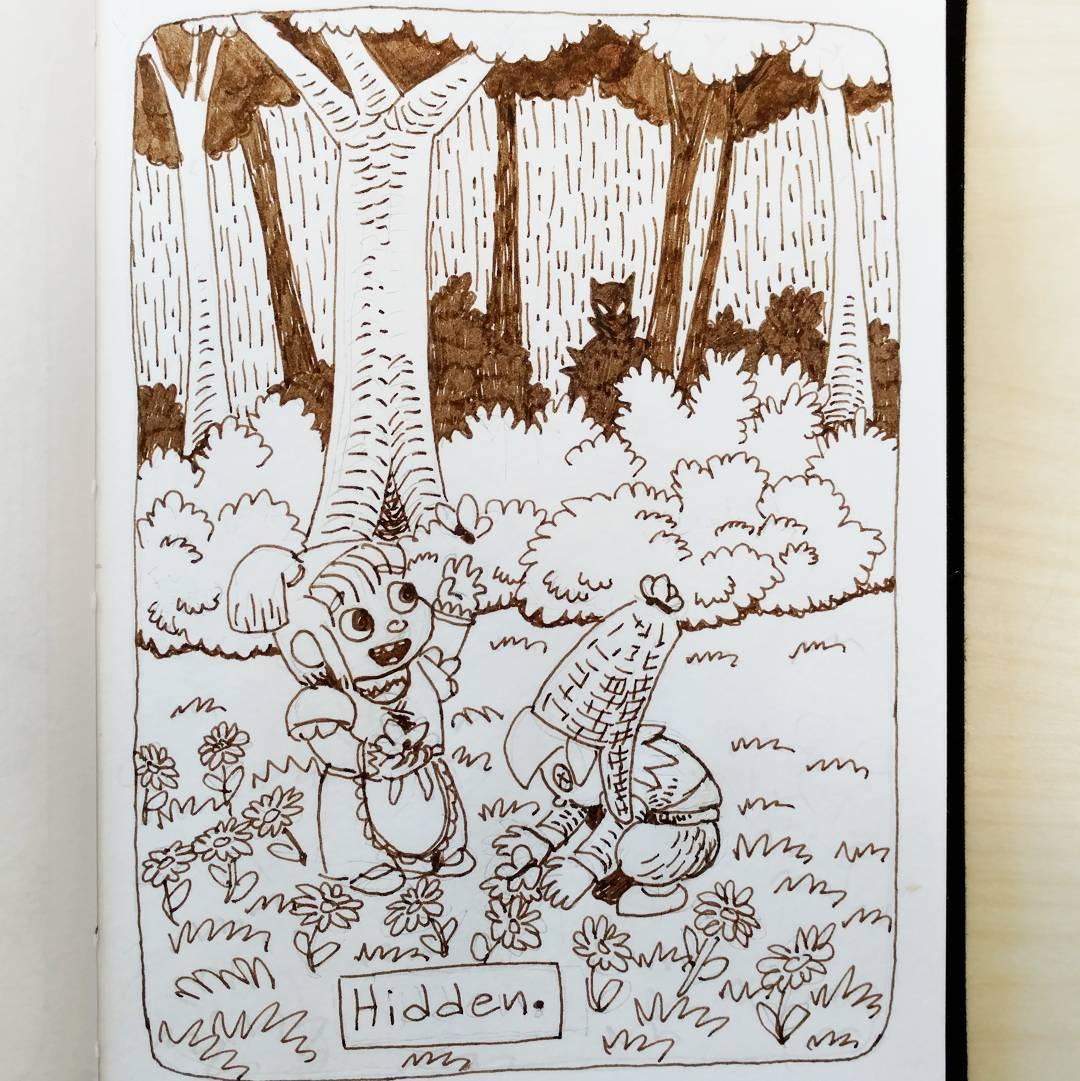 """redjarojam """"Hidden"""", Inktober 06 - by Jared DeCosta (redjarojam) www.instagram.com/redjarojam (2016-10) © dell'autore tutti i diritti riservati"""