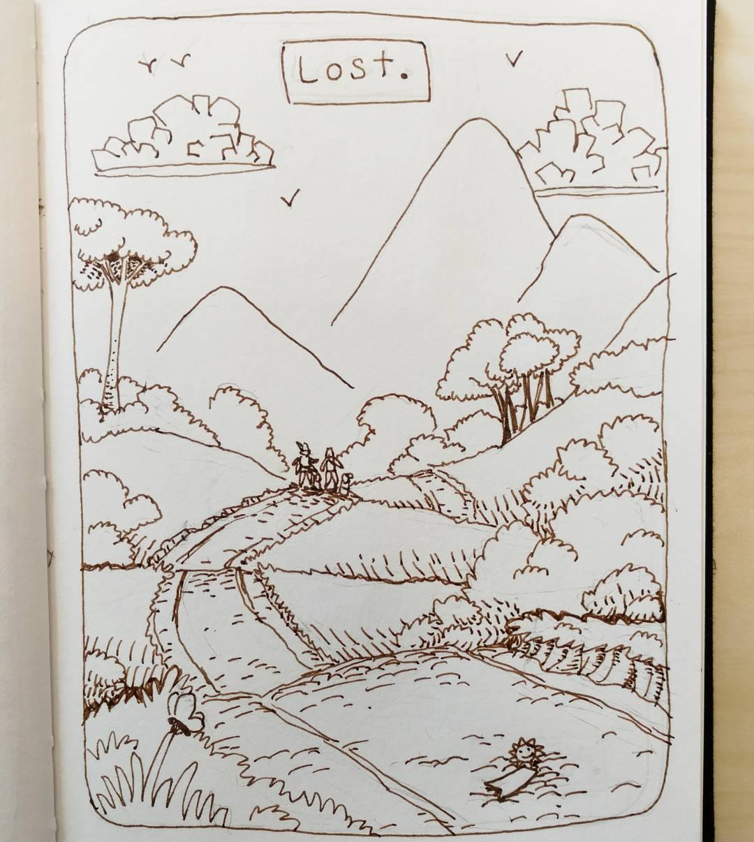 """redjarojam """"Lost"""", Inktober 07 - by Jared DeCosta (redjarojam) www.instagram.com/redjarojam (2016-10) © dell'autore tutti i diritti riservati"""