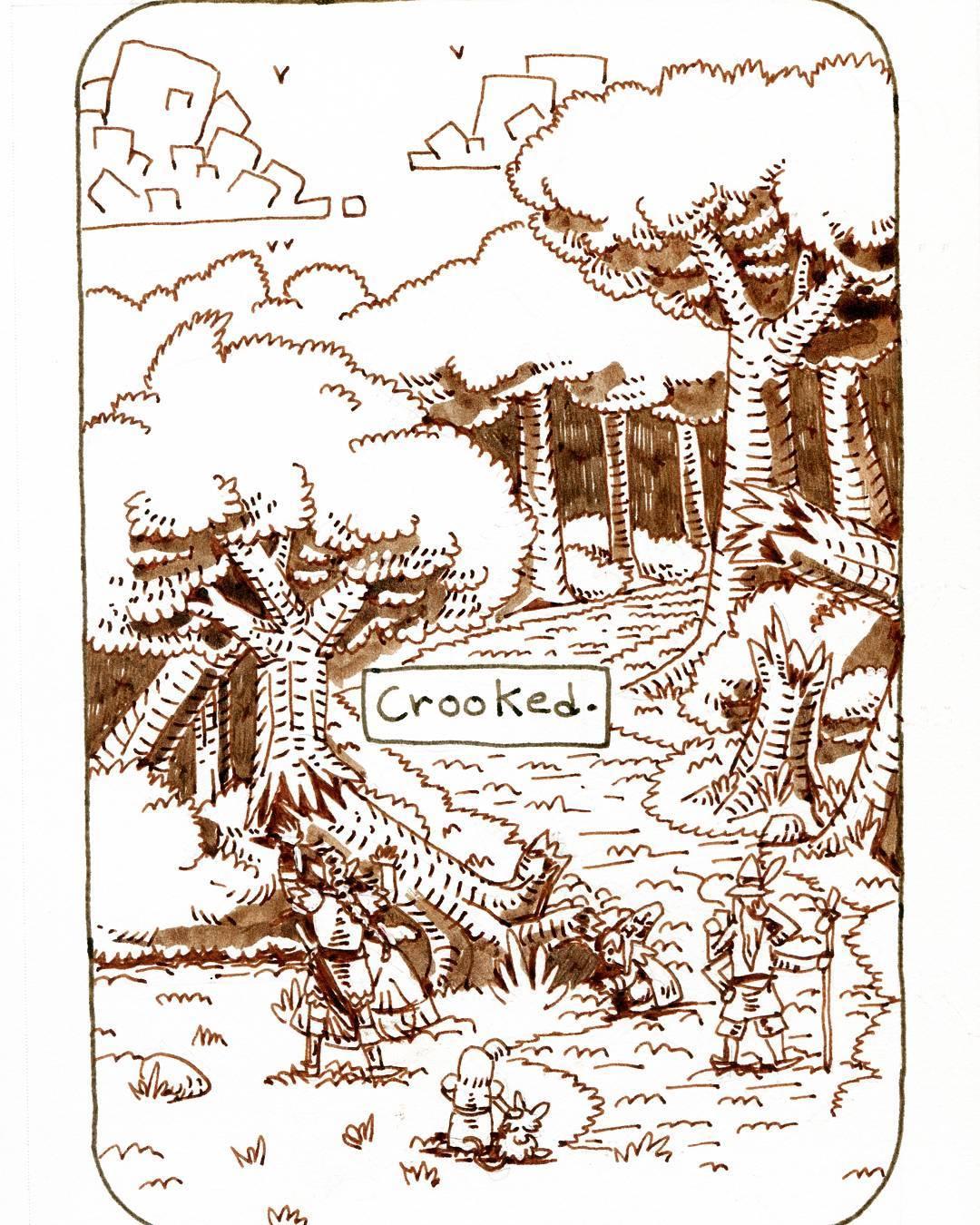 """redjarojam """"Crooked"""", Inktober 08 - by Jared DeCosta (redjarojam) www.instagram.com/redjarojam (2017-10) © dell'autore tutti i diritti riservati"""