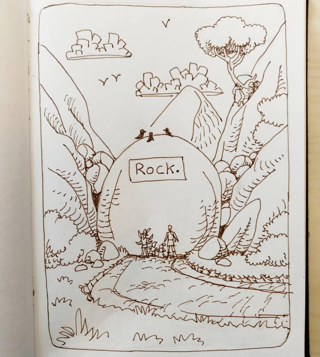 """redjarojam """"Rock"""", Inktober 08 - by Jared DeCosta (redjarojam) www.instagram.com/redjarojam (2016-10) © dell'autore tutti i diritti riservati"""