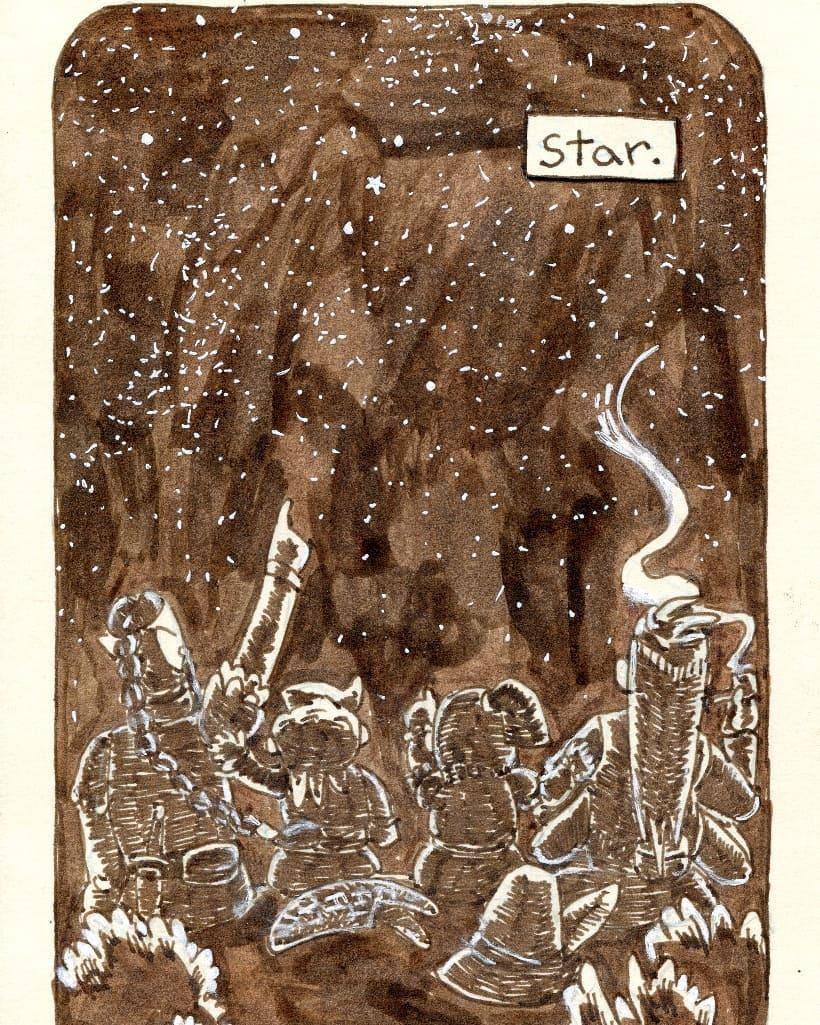 """redjarojam """"Star"""", Inktober 08 - by Jared DeCosta (redjarojam) www.instagram.com/redjarojam (2018-10) © dell'autore tutti i diritti riservati"""
