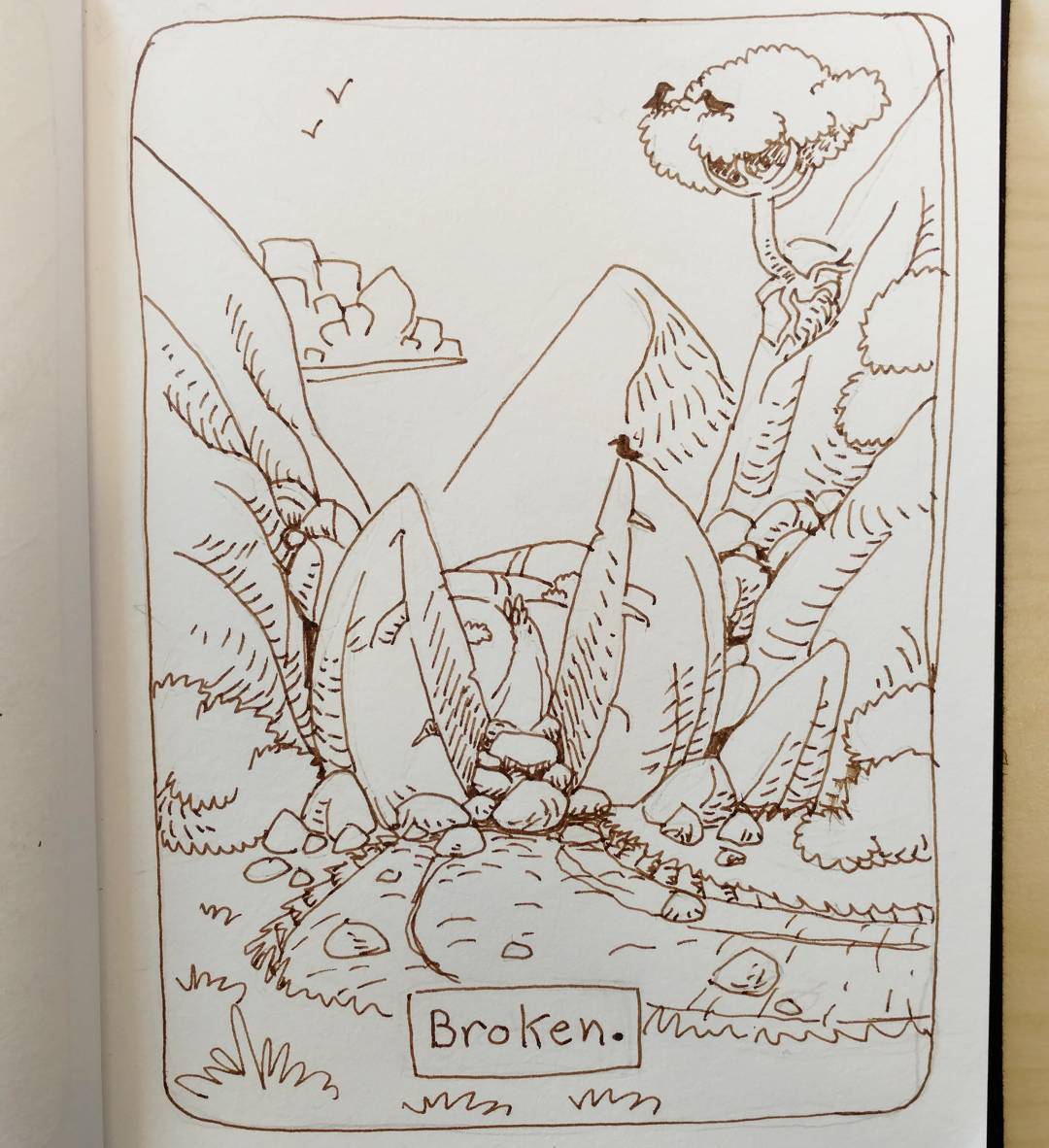 """redjarojam """"Broken"""", Inktober 09 - by Jared DeCosta (redjarojam) www.instagram.com/redjarojam (2016-10) © dell'autore tutti i diritti riservati"""