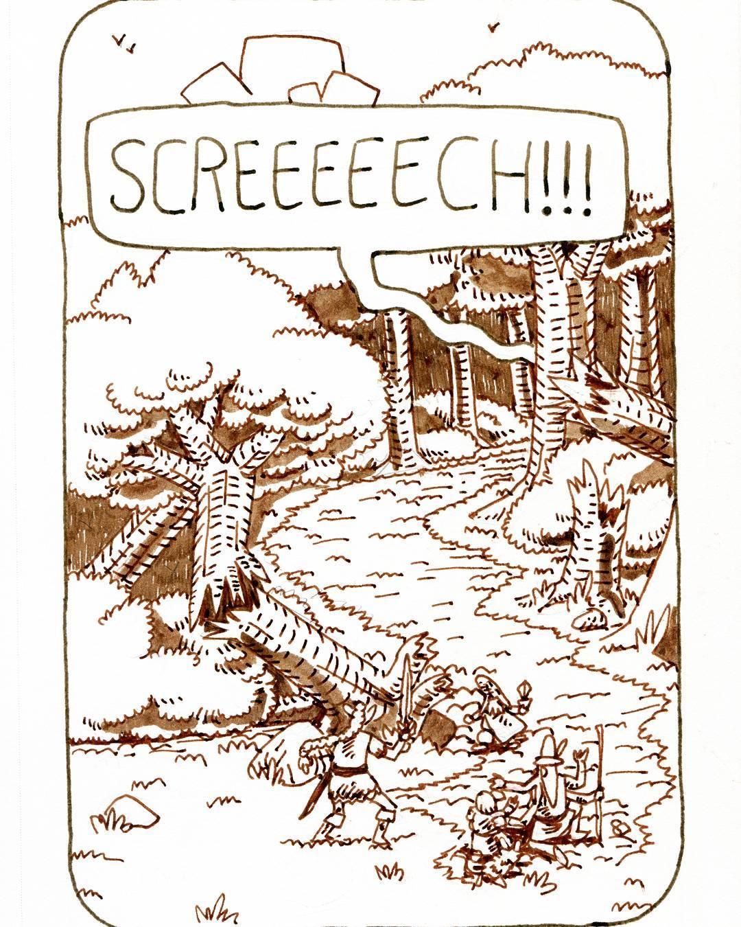 """redjarojam """"Screech"""", Inktober 09 - by Jared DeCosta (redjarojam) www.instagram.com/redjarojam (2017-10) © dell'autore tutti i diritti riservati"""
