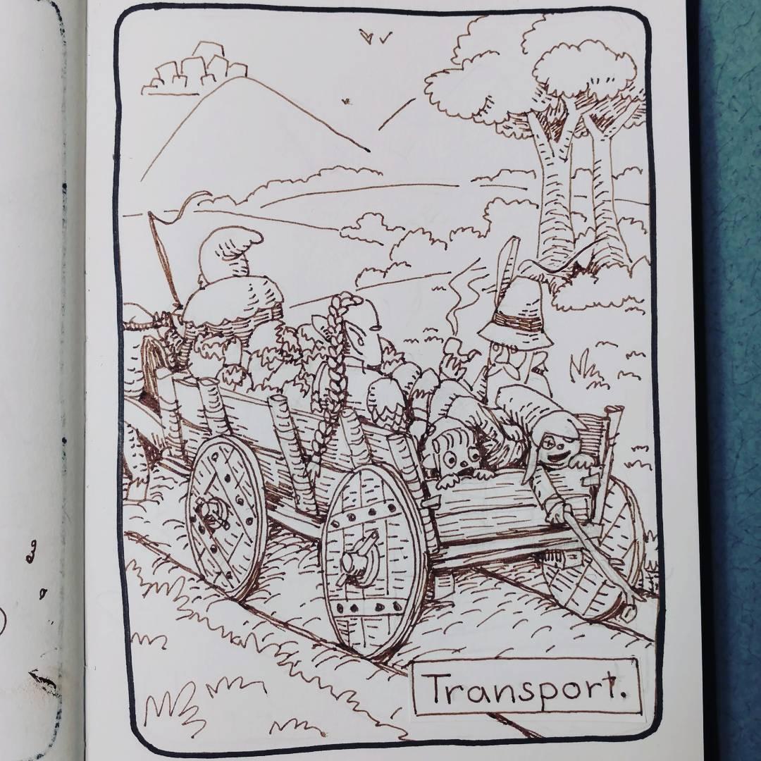 """redjarojam """"Transport"""", Inktober 11 - by Jared DeCosta (redjarojam) www.instagram.com/redjarojam (2016-10) © dell'autore tutti i diritti riservati"""