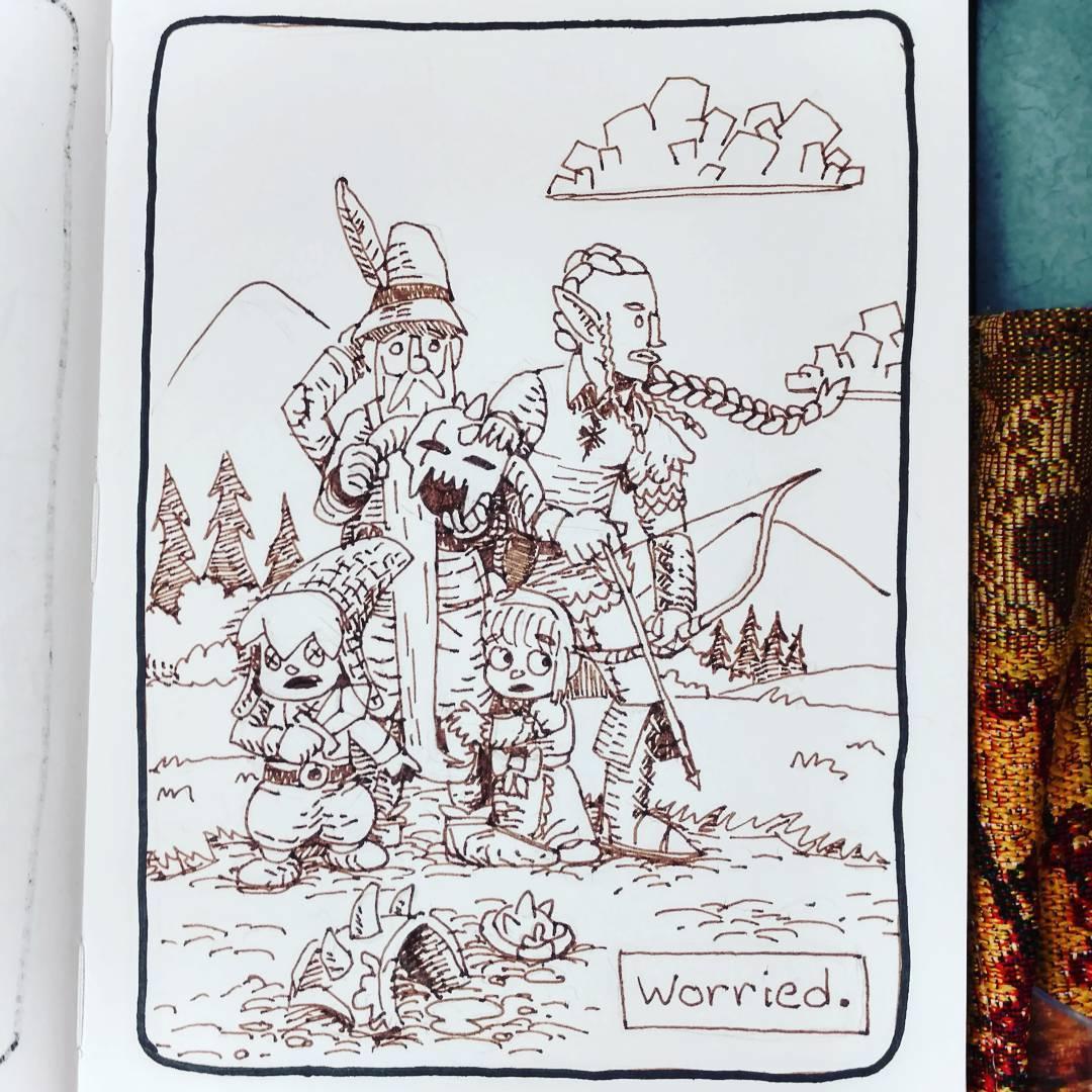 """redjarojam """"Worried"""", Inktober 12 - by Jared DeCosta (redjarojam) www.instagram.com/redjarojam (2016-10) © dell'autore tutti i diritti riservati"""
