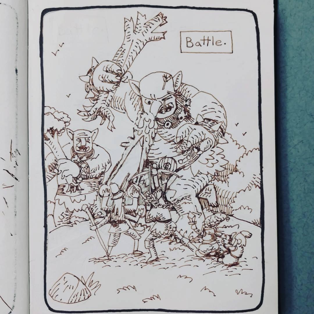 """redjarojam """"Battle"""", Inktober 17 - by Jared DeCosta (redjarojam) www.instagram.com/redjarojam (2016-10) © dell'autore tutti i diritti riservati"""