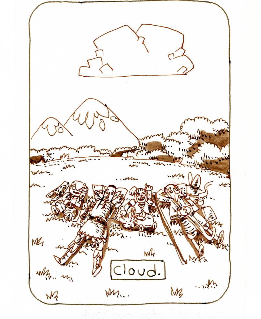 """redjarojam """"Cloud"""", Inktober 19 - by Jared DeCosta (redjarojam) www.instagram.com/redjarojam (2017-10) © dell'autore tutti i diritti riservati"""