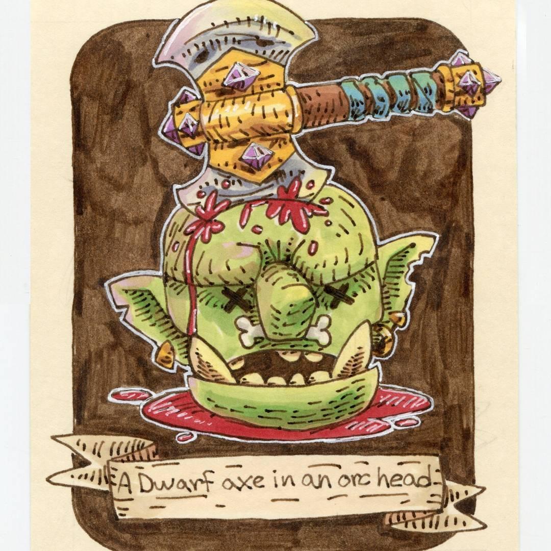 "redjarojam ""A Dwarf Axe in an Orc Head"", 12 Days of Critmas - by Jared DeCosta (redjarojam) www.instagram.com/redjarojam (2017-12) © dell'autore tutti i diritti riservati"
