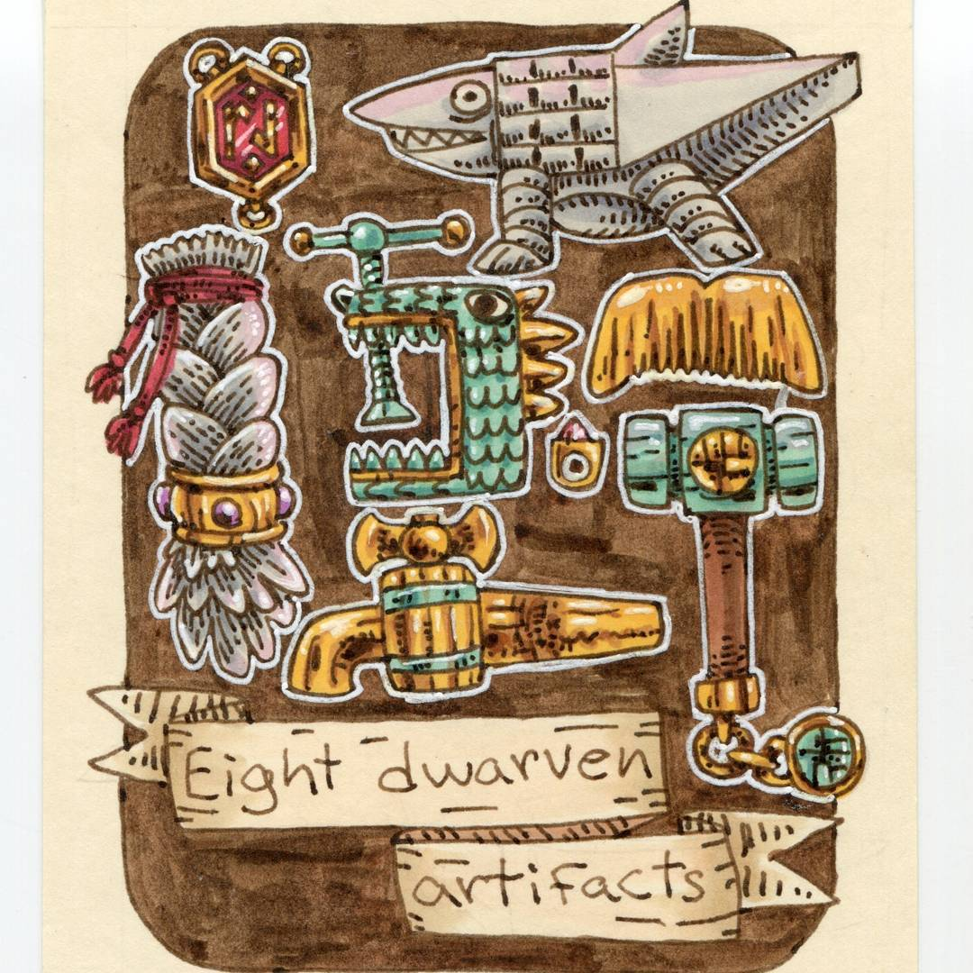 "redjarojam ""Eight Dwarven Artifacts"", 12 Days of Critmas - by Jared DeCosta (redjarojam) www.instagram.com/redjarojam (2017-12) © dell'autore tutti i diritti riservati"
