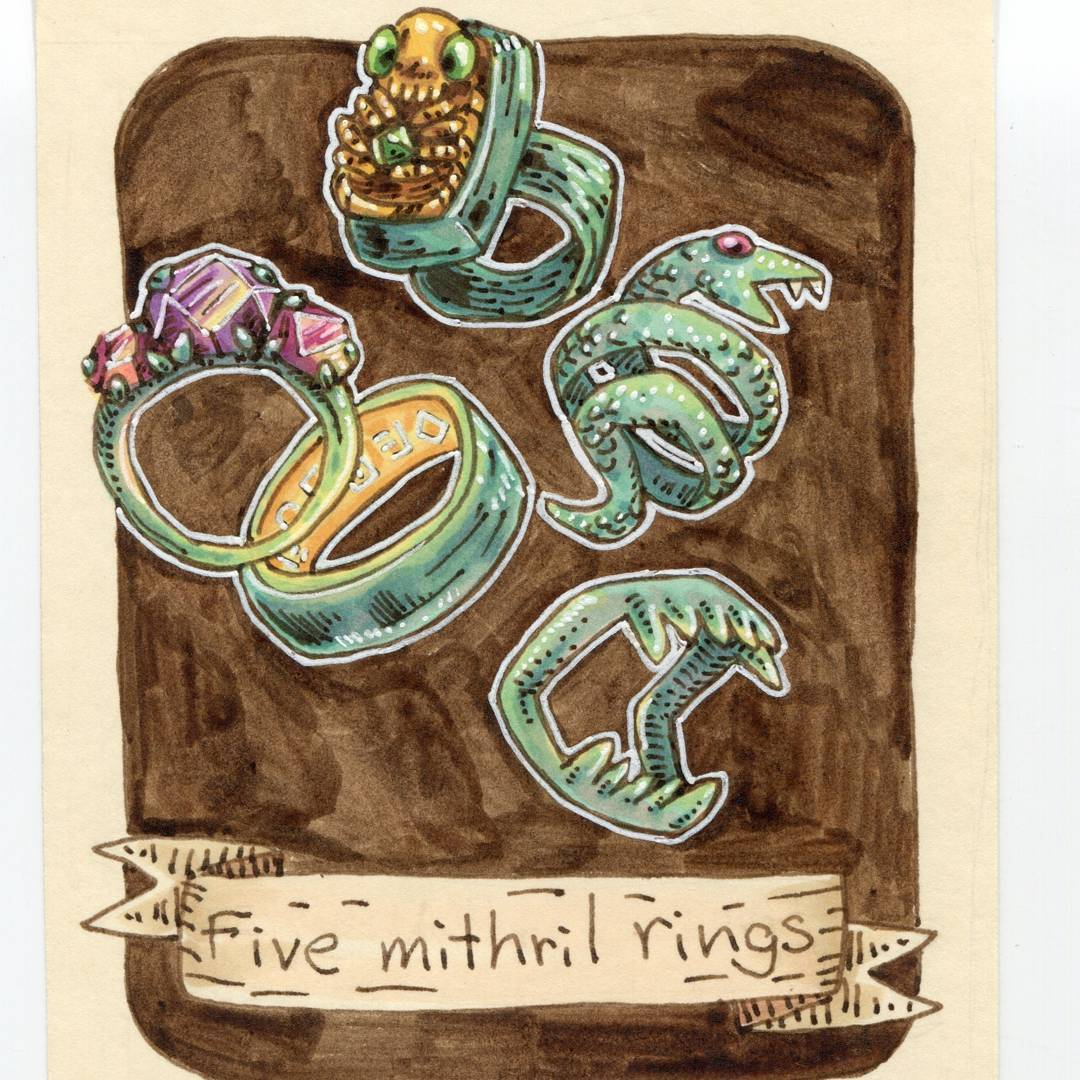 "redjarojam ""Five Mithril Rings"", 12 Days of Critmas - by Jared DeCosta (redjarojam) www.instagram.com/redjarojam (2017-12) © dell'autore tutti i diritti riservati"