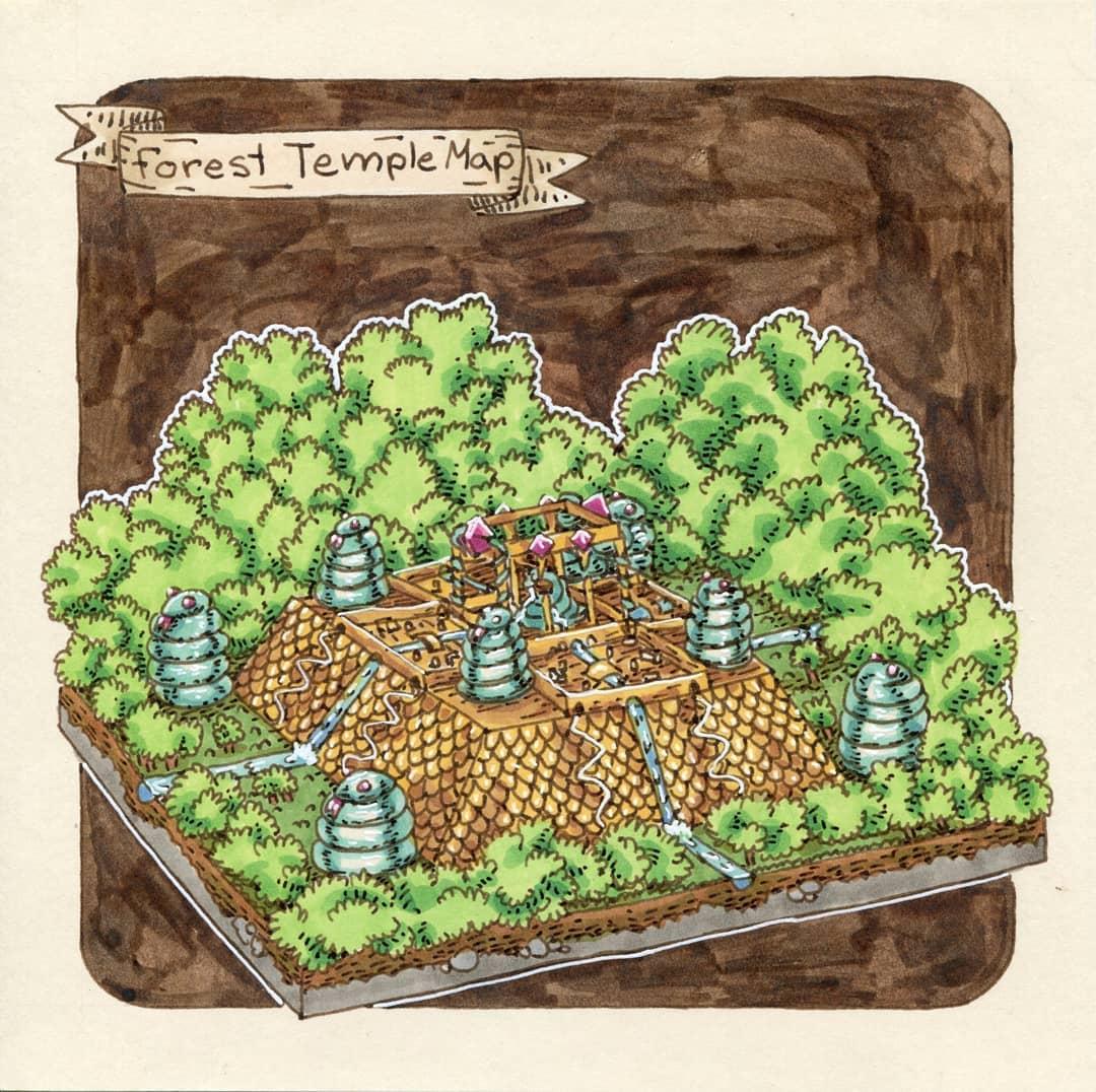 """redjarojam """"Forest Temple Map"""" - by Jared DeCosta (redjarojam) www.instagram.com/redjarojam (2018-07) © dell'autore tutti i diritti riservati"""
