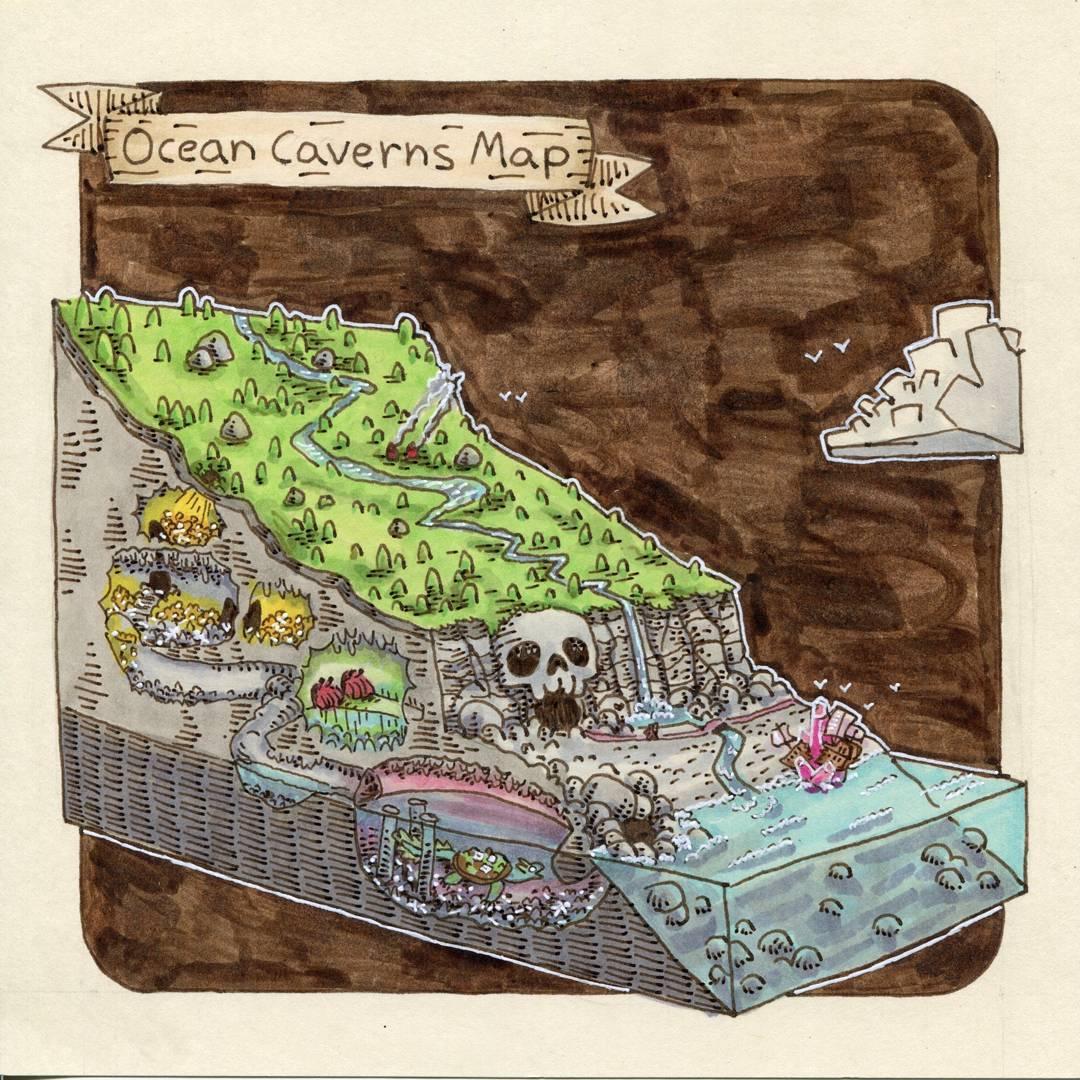 """redjarojam """"Ocean Caverns Map"""" - by Jared DeCosta (redjarojam) www.instagram.com/redjarojam (2018-02) © dell'autore tutti i diritti riservati"""
