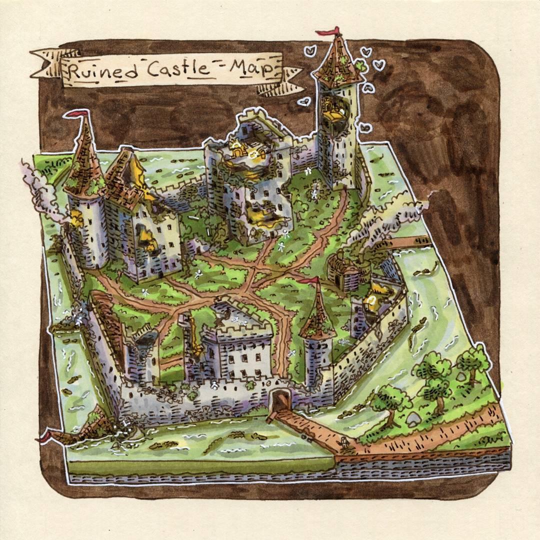 "redjarojam ""Ruined Castle Map"" - by Jared DeCosta (redjarojam) www.instagram.com/redjarojam (2018-02) © dell'autore tutti i diritti riservati"