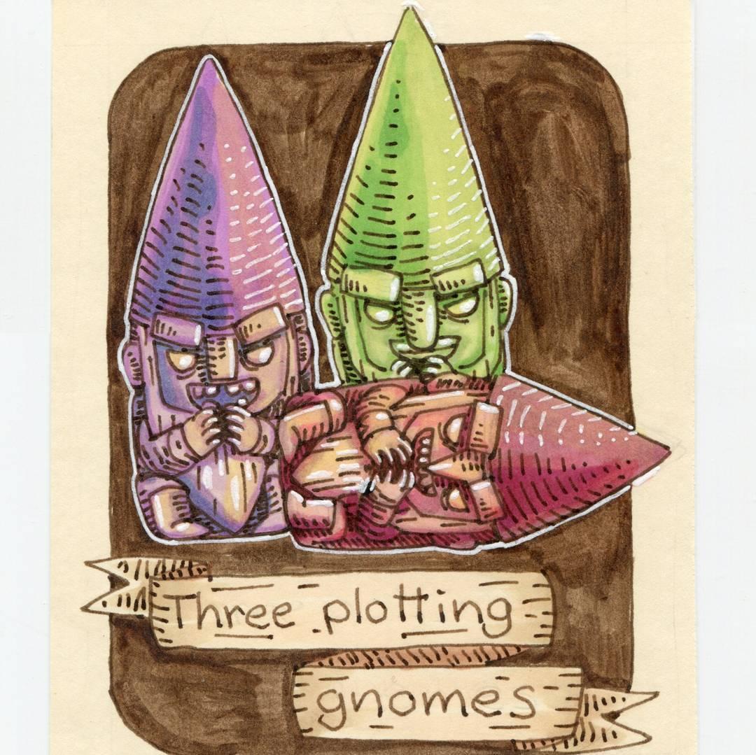 "redjarojam ""Three Plotting Gnomes"", 12 Days of Critmas - by Jared DeCosta (redjarojam) www.instagram.com/redjarojam (2017-12) © dell'autore tutti i diritti riservati"