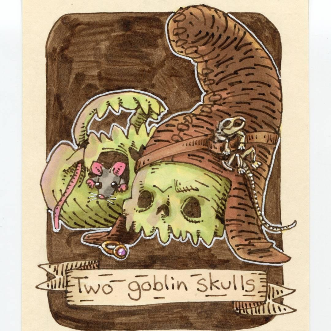"redjarojam ""Two Goblin Skulls"", 12 Days of Critmas - by Jared DeCosta (redjarojam) www.instagram.com/redjarojam (2017-12) © dell'autore tutti i diritti riservati"