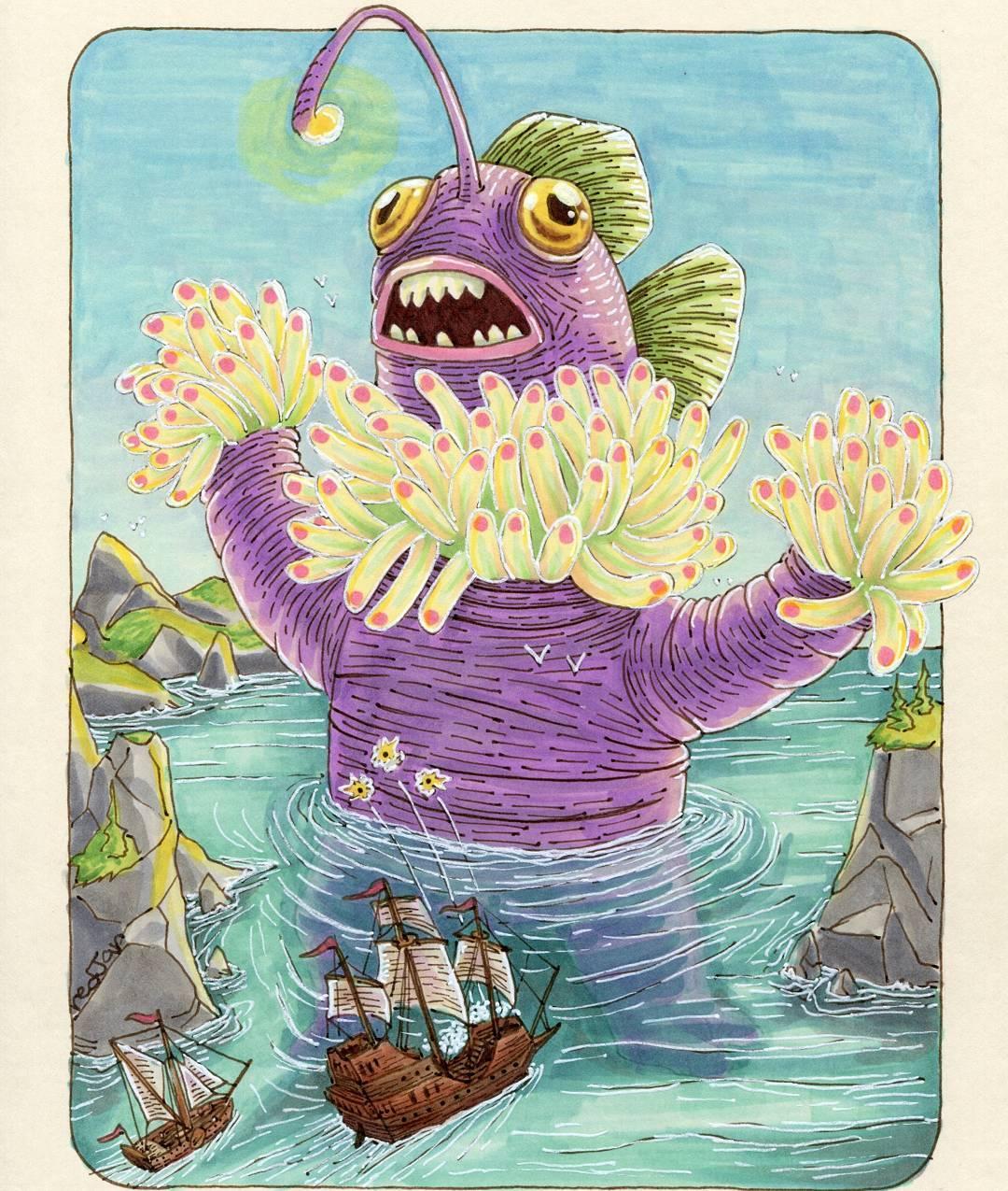 "redjarojam ""Anemone Monster"" - by Jared DeCosta (redjarojam) www.instagram.com/redjarojam (2016-2019) © dell'autore tutti i diritti riservati"