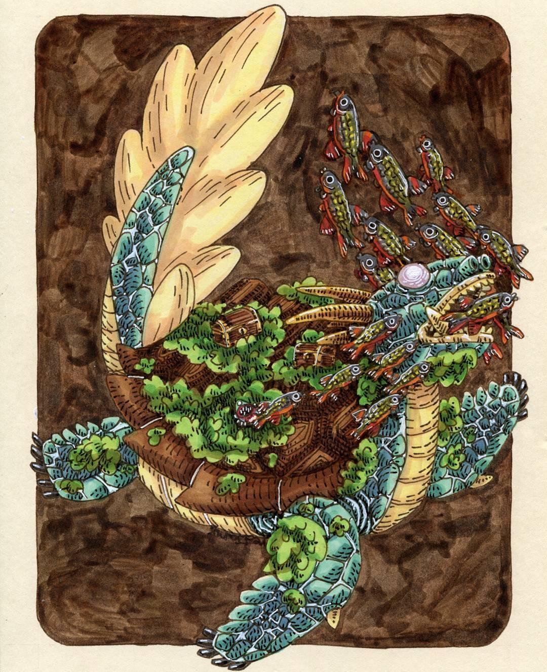 "redjarojam ""Dragon Turtle"" - by Jared DeCosta (redjarojam) www.instagram.com/redjarojam (2016-2019) © dell'autore tutti i diritti riservati"