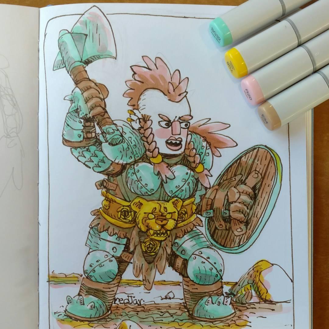"""redjarojam """"Lady Dwarf Warrior"""" - by Jared DeCosta (redjarojam) www.instagram.com/redjarojam (2016-2019) © dell'autore tutti i diritti riservati"""