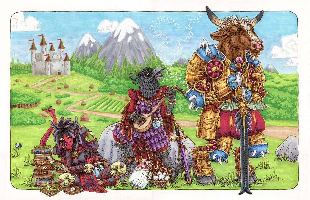 """redjarojam """"Tiefling, Kenku and Minotaur"""" commission - by Jared DeCosta (redjarojam) www.instagram.com/redjarojam (2016-2019) © dell'autore tutti i diritti riservati"""