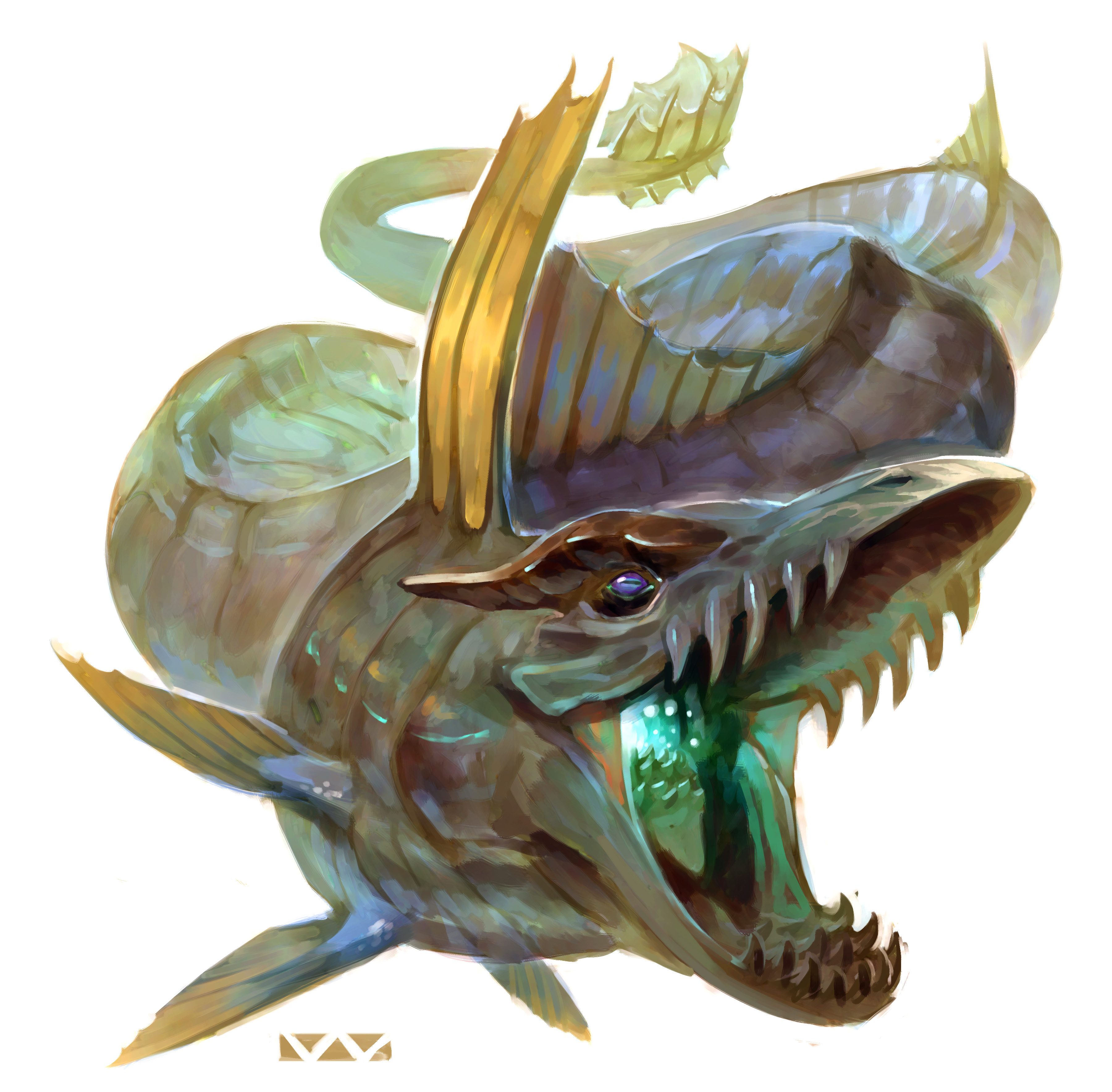 "stephen-wood ""River Wurm"" - by Stephen Wood Dungeon Master's Guild ""Angler: a Ranger's Path"" (2018-02) © Wizards of the Coast e dell'autore, tutti i diritti riservati"