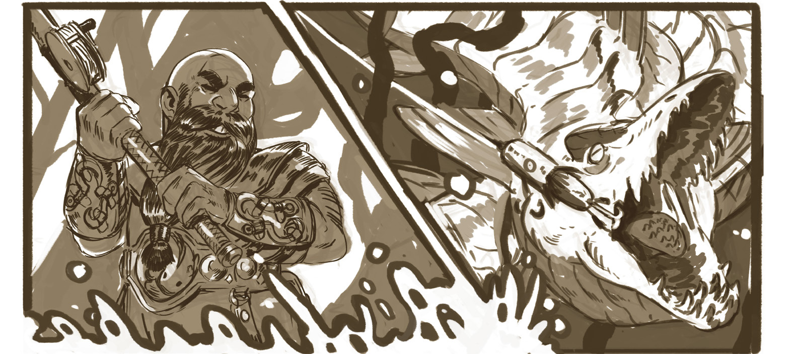 """stephen-wood A pesca di wurm - by Stephen Wood Dungeon Master's Guild """"Angler: a Ranger's Path"""" (2018-02) © Wizards of the Coast e dell'autore, tutti i diritti riservati"""