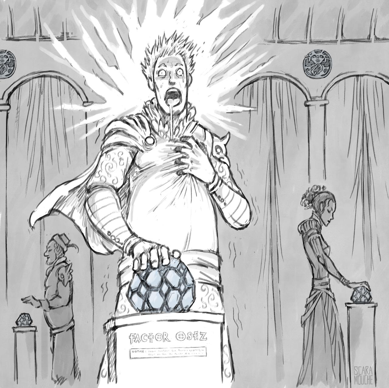 """saintrabouin Scara Mouche """"The Chant of Sigil: Factor Osez Notice"""", attenzione, certe pietre sensoriali potrebbero avere controindicazioni - by Baptiste (Scara Mouche) saintrabouin.tumblr.com (2018-12) © dell'autore tutti i diritti riservati"""