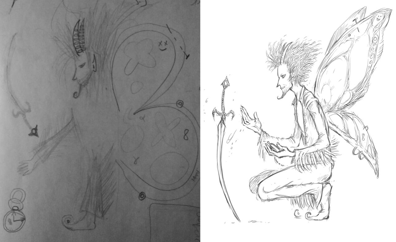 """saintrabouin Scara Mouche """"Shibbarium: Plume"""", un prima/dopo di pg tiefling - by Baptiste (Scara Mouche) saintrabouin.tumblr.com (2018-02) © dell'autore tutti i diritti riservati"""