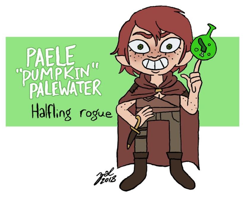 "zal001 ""Paele Pumpkin Palewater"", halfling - by Austin ""Zal"" Forbes www.deviantart.com/zal001 (2018) © dell'autore tutti i diritti riservati"