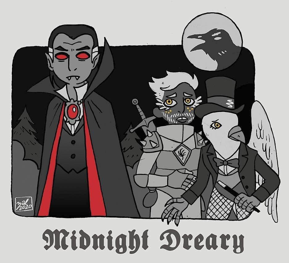 """zal001 """"Midnight Dreary"""", featuring Strahd, Columba e il buon Kip, un terzo capitolo dopo Painscape - by Austin """"Zal"""" Forbes zal-art.tumblr.com (2020-01) © dell'autore tutti i diritti riservati"""